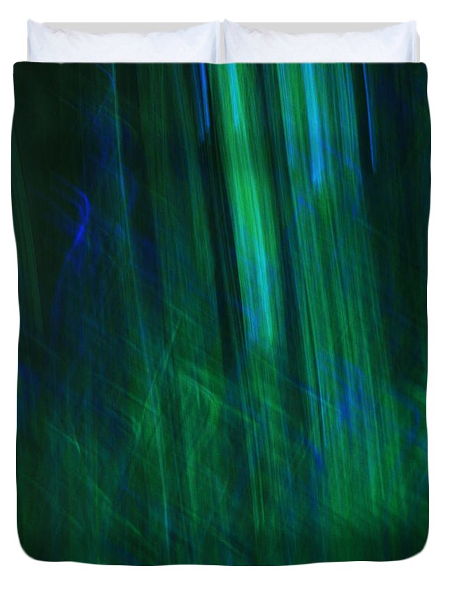 Blue Duvet Cover featuring the photograph Blue And Green Abstract by Deborah Benbrook