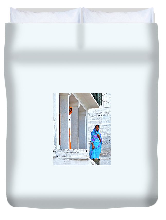 Blue Duvet Cover featuring the photograph Blue And Orange - Peeking Out by Kim Bemis