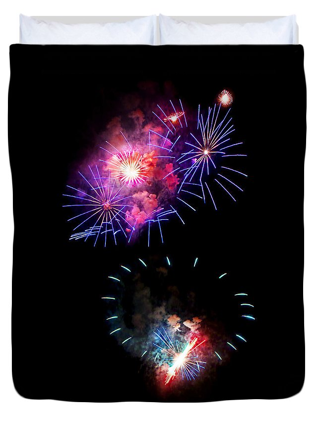 Fireworks Duvet Cover featuring the photograph Blue And Red Firework Disks by Weston Westmoreland