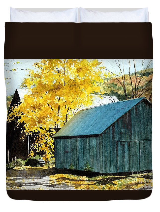 Blue Barn Duvet Cover featuring the painting Blue Barn by Barbara Jewell