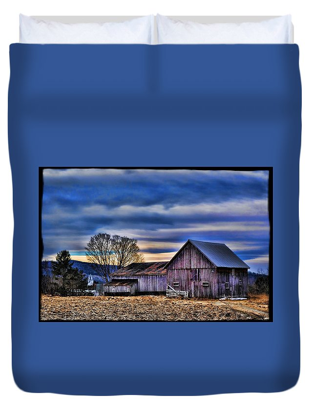 Barn Duvet Cover featuring the photograph Blue Barn by Jes Fritze