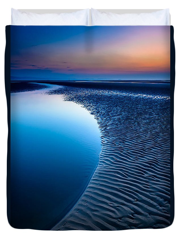 Bay Duvet Cover featuring the photograph Blue Beach by Adrian Evans