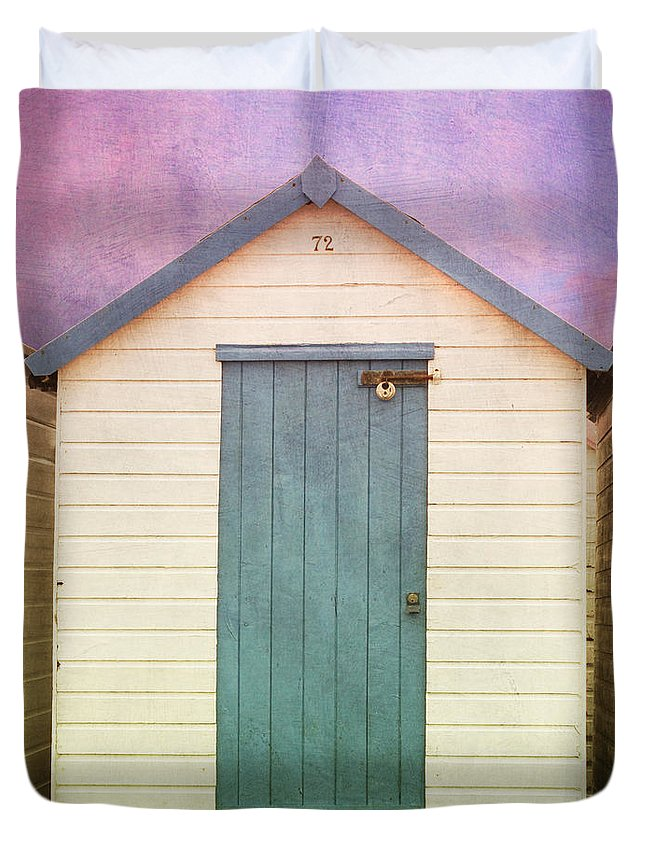 Beach Huts With Texture Duvet Cover featuring the photograph Blue Beach Hut by Terri Waters