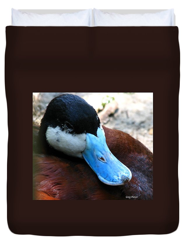Patzer Duvet Cover featuring the photograph Blue Beak by Greg Patzer