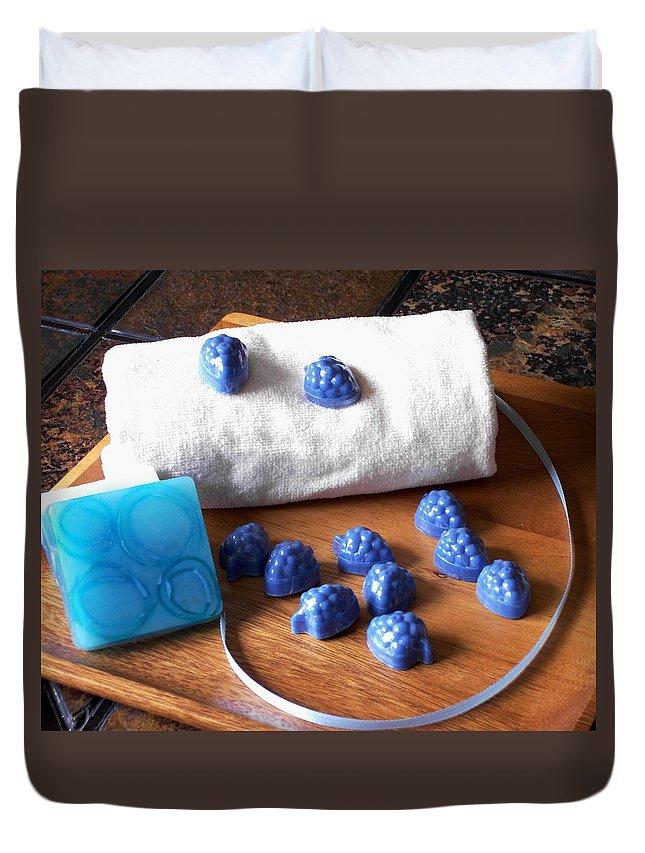 Handmade Duvet Cover featuring the photograph Blue Berries Mini Soaps by Anastasiya Malakhova