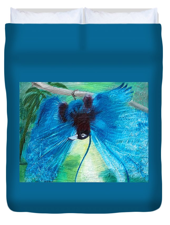 Bird Duvet Cover featuring the painting Blue Bird Of Paradise by Anne Cameron Cutri