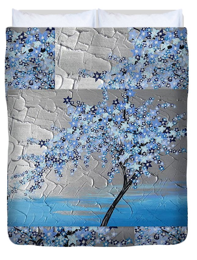 Cherry Blossom Duvet Cover featuring the painting Blue Blossom Tree by Cathy Jacobs