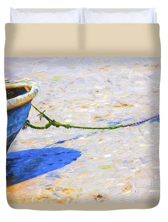 Abstract Duvet Cover featuring the photograph Blue boat on mudflat by Sheila Smart Fine Art Photography