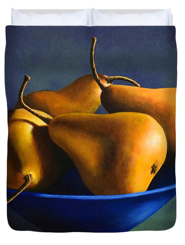 Still Life Duvet Cover featuring the painting Blue Bowl With Four Pears by Frank Wilson