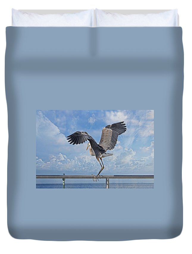 Great Blue Heron Duvet Cover featuring the photograph Blue Boy by HH Photography of Florida