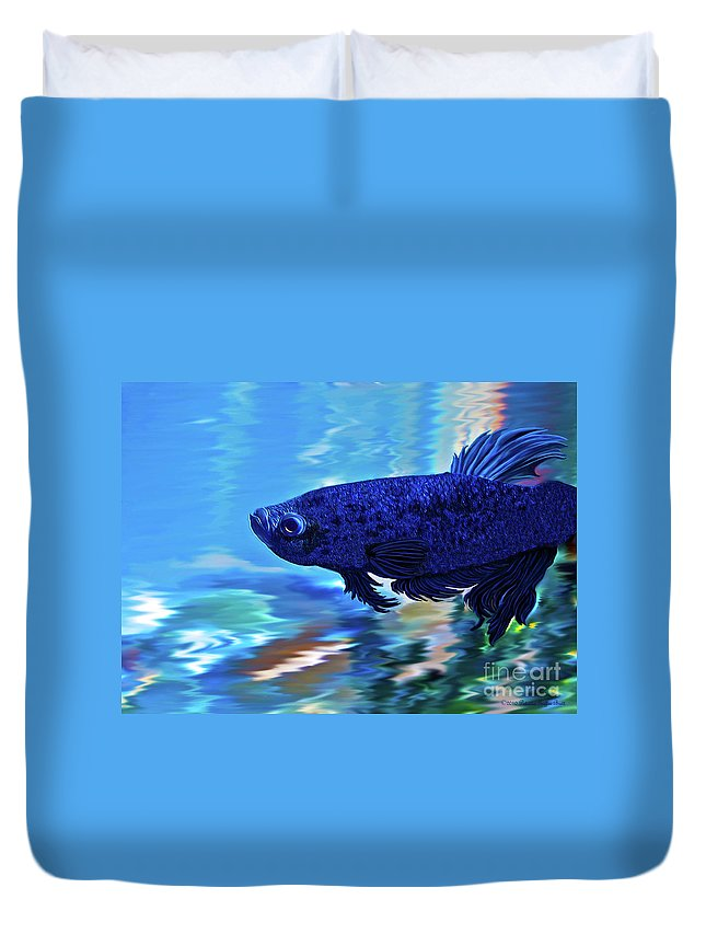 Fine Art Photography Duvet Cover featuring the painting Blue Boy by Patricia Griffin Brett