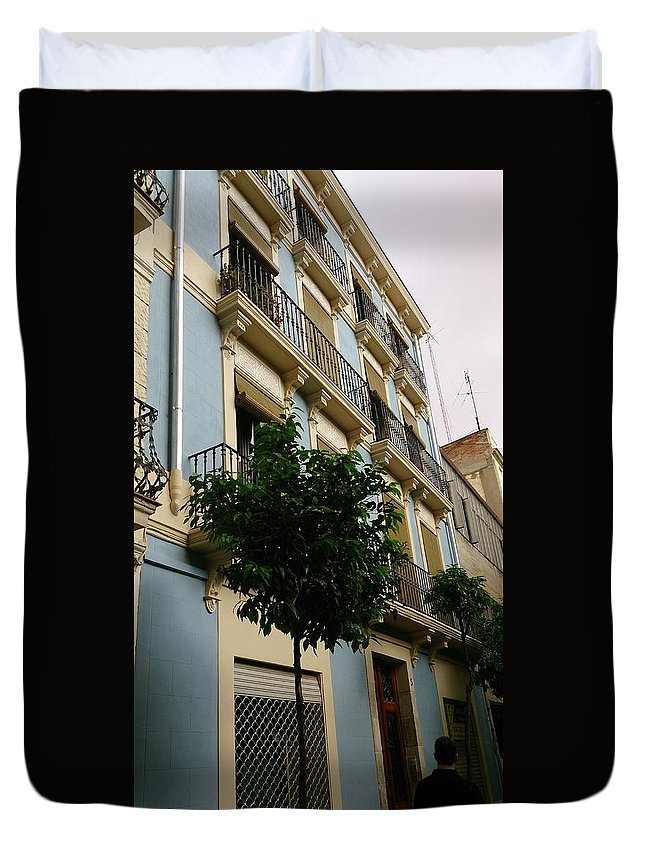 Colors Duvet Cover featuring the photograph Blue Building by Moshe Harboun