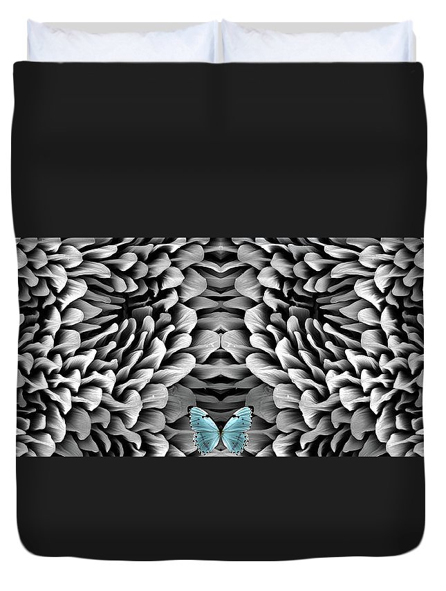 Microscope Duvet Cover featuring the photograph Blue Butterfly And Antenna by Sheri Neva