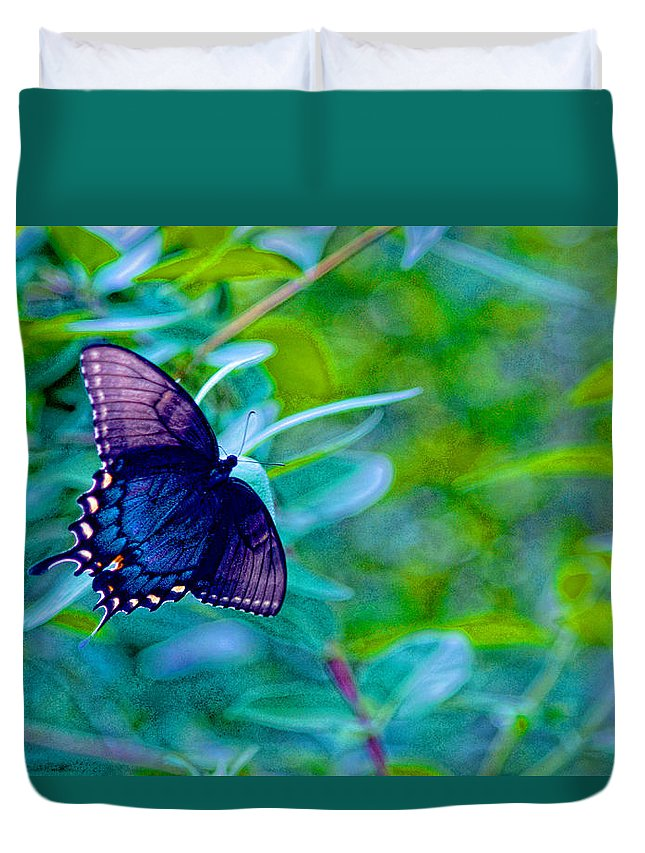 Butterfly Duvet Cover featuring the photograph Blue Butterfly Fantasy by Linda Mcfarland