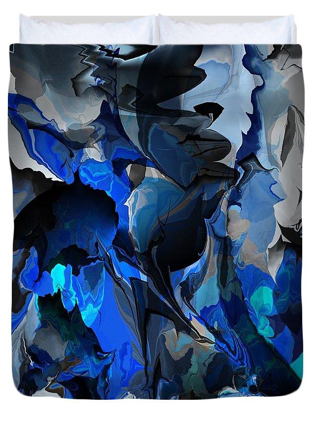 Fine Art Duvet Cover featuring the digital art Blue Chaos by David Lane
