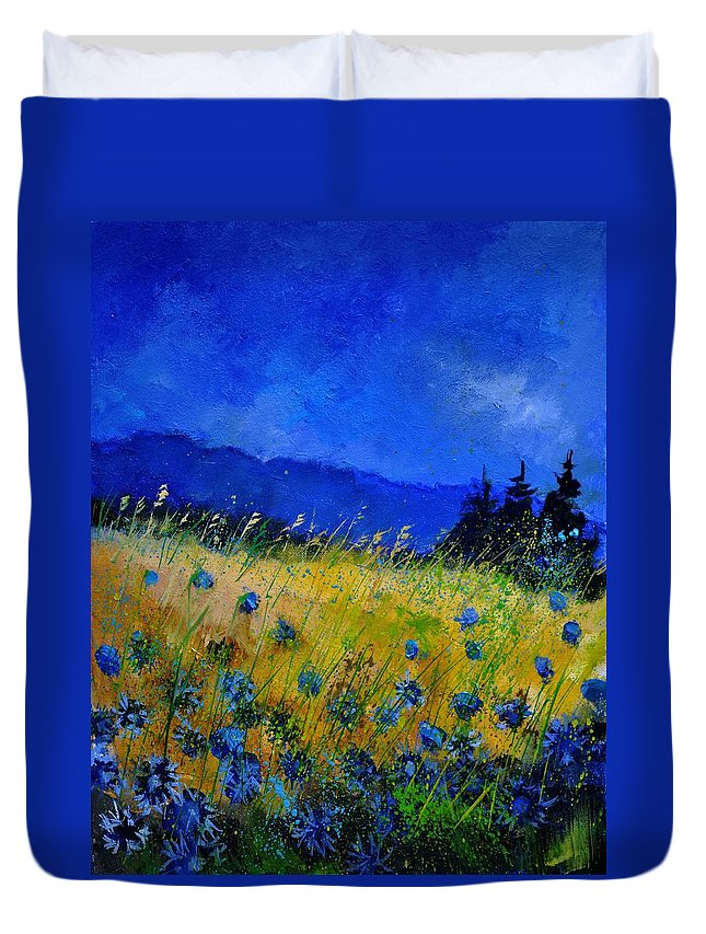 Flowers Duvet Cover featuring the painting Blue Conflowers 454150 by Pol Ledent