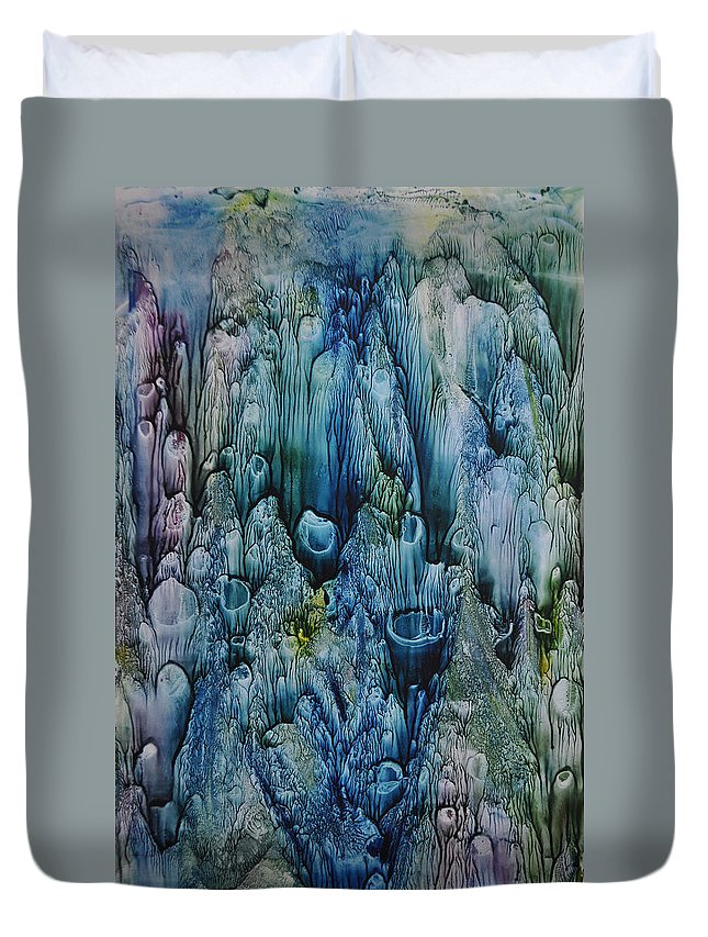 Coral Duvet Cover featuring the painting Blue Coral by Mickey Krause