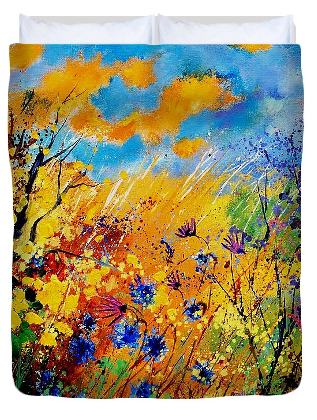 Poppies Duvet Cover featuring the painting Blue Cornflowers 450408 by Pol Ledent