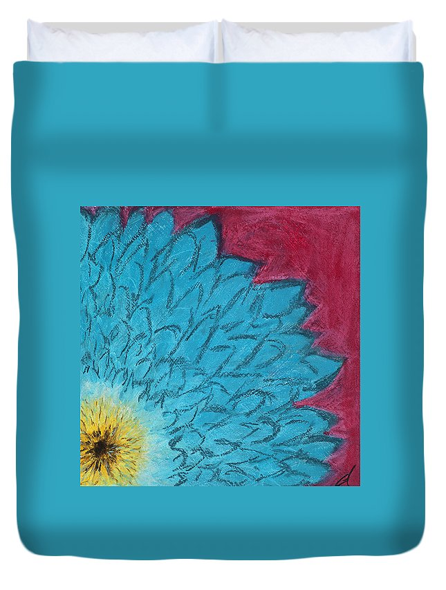 Blue Duvet Cover featuring the painting Blue Daisy by Dana Strotheide