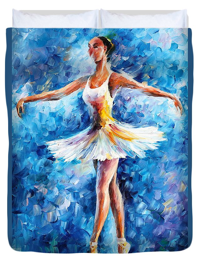 Dance Duvet Cover featuring the painting Blue Dance by Leonid Afremov