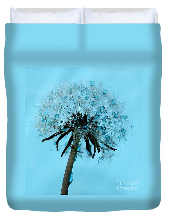 Dandelion Duvet Cover featuring the photograph Blue Dandelion Wish by Krissy Katsimbras