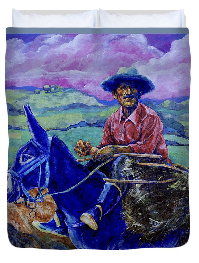 Donkey Duvet Cover featuring the painting Blue Donkey by Derrick Higgins