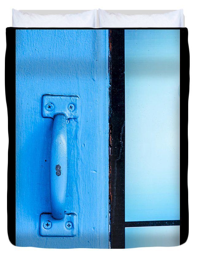 Door Duvet Cover featuring the photograph Blue Door Handle by Carolyn Marshall