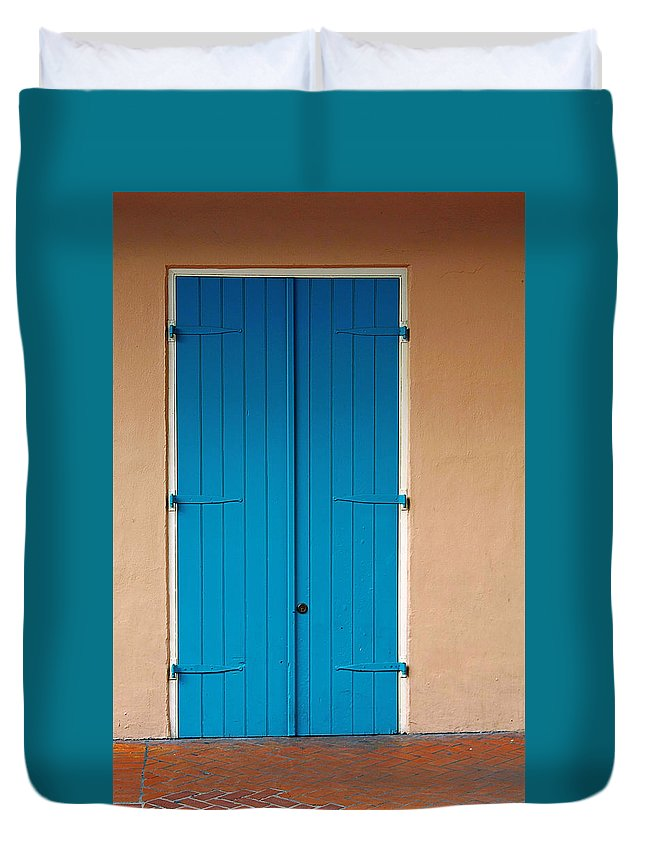 Front Duvet Cover featuring the photograph Blue Door In New Orleans by Christine Till