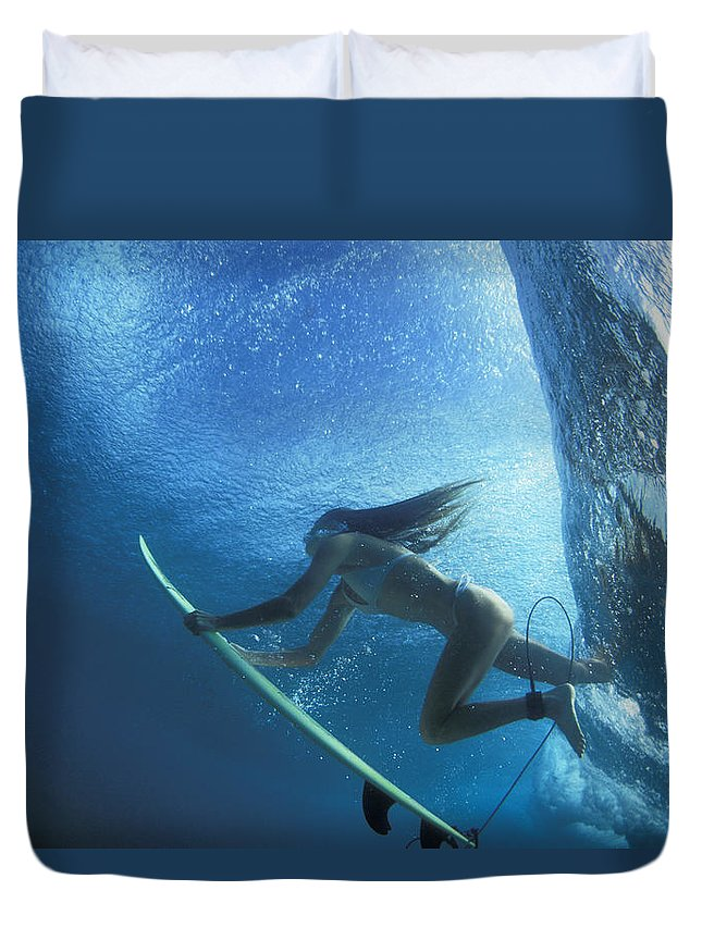 Under Water Duvet Cover featuring the photograph Blue Embrace by Sean Davey