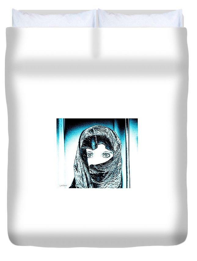 Blue Eyes Duvet Cover featuring the photograph Blue Eye Lady by Linda Sannuti