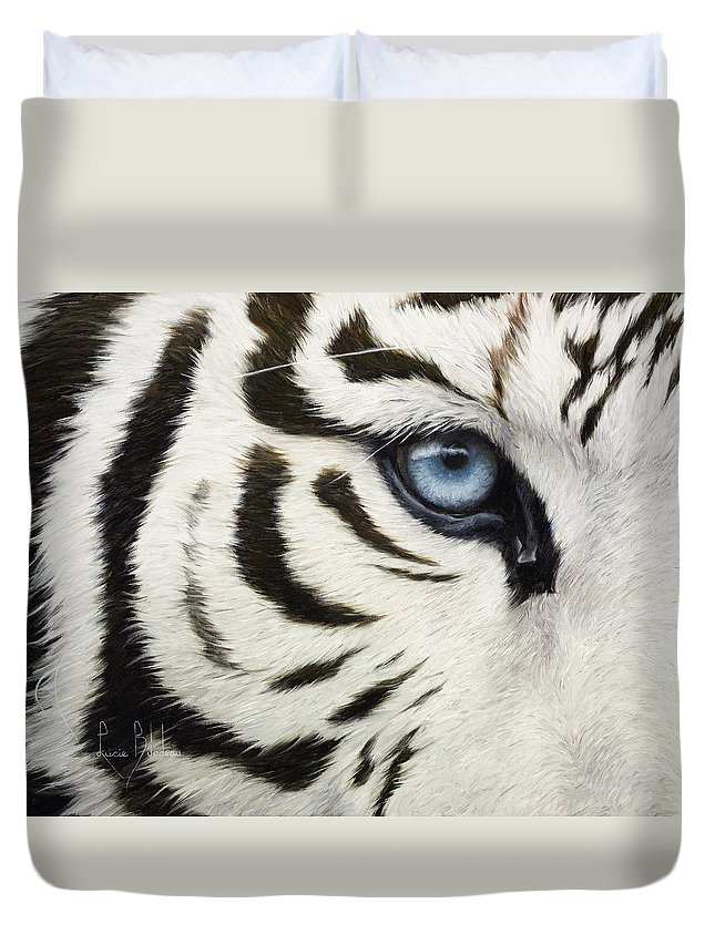Tiger Duvet Cover featuring the painting Blue Eye by Lucie Bilodeau