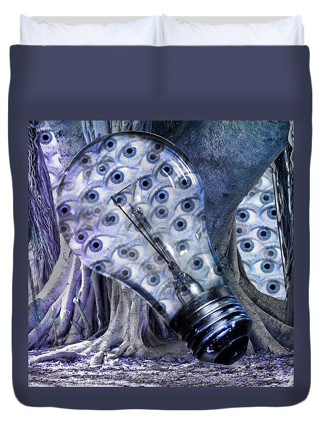 Lightbulb Duvet Cover featuring the digital art Blue Eyes by Betsy Knapp