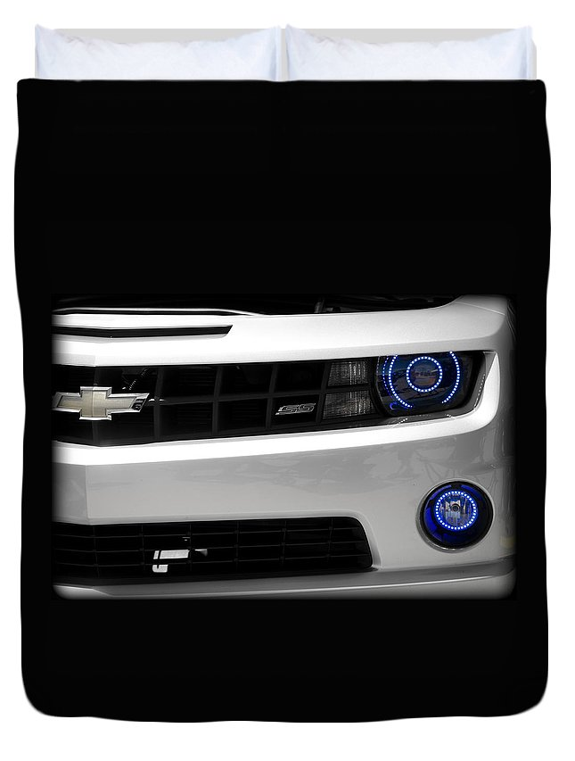 Camaro Duvet Cover featuring the photograph Blue Eyes by Ricky Barnard