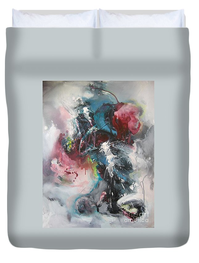 Abstract Paintings Duvet Cover featuring the painting Blue Fever8 by Seon-Jeong Kim