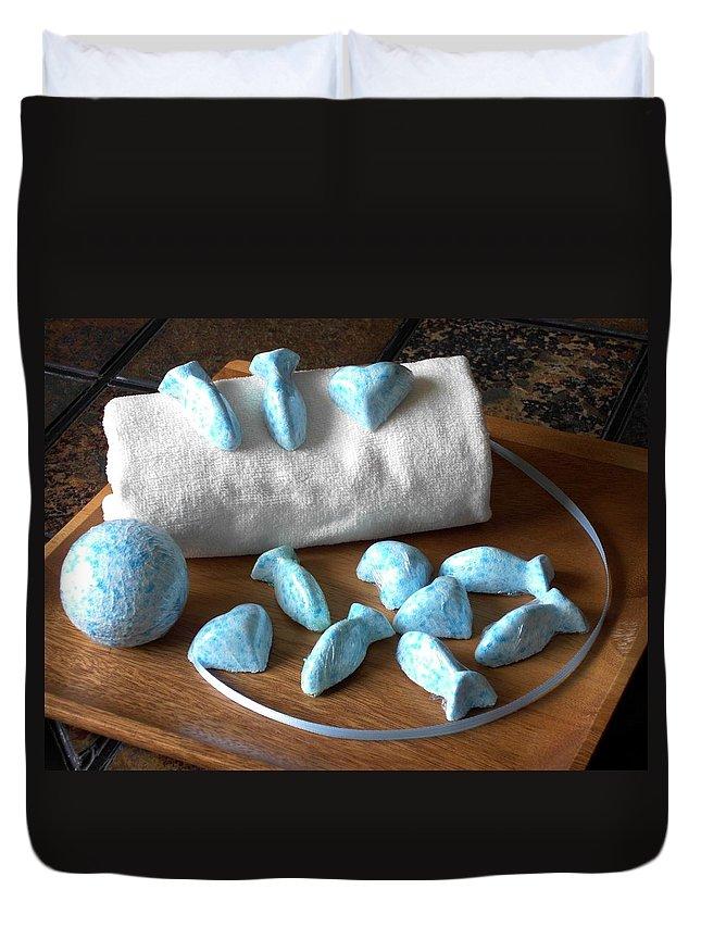 Body Duvet Cover featuring the photograph Blue Fish Bath Bombs by Anastasiya Malakhova
