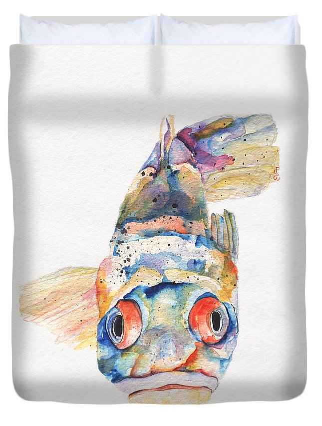 Pat Saunders-white Duvet Cover featuring the painting Blue Fish  by Pat Saunders-White