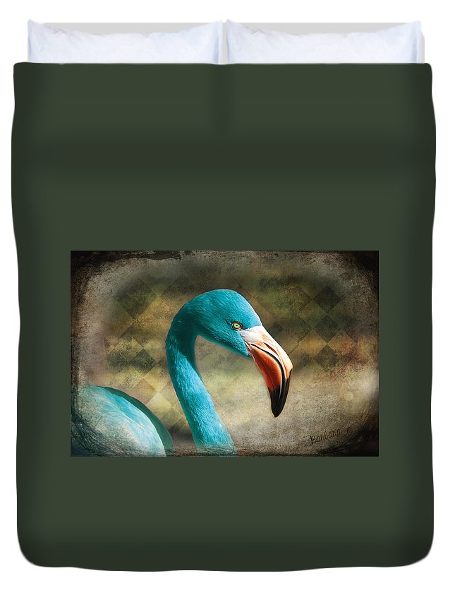 Flamingo Duvet Cover featuring the photograph Blue Flamingo by Barbara Orenya