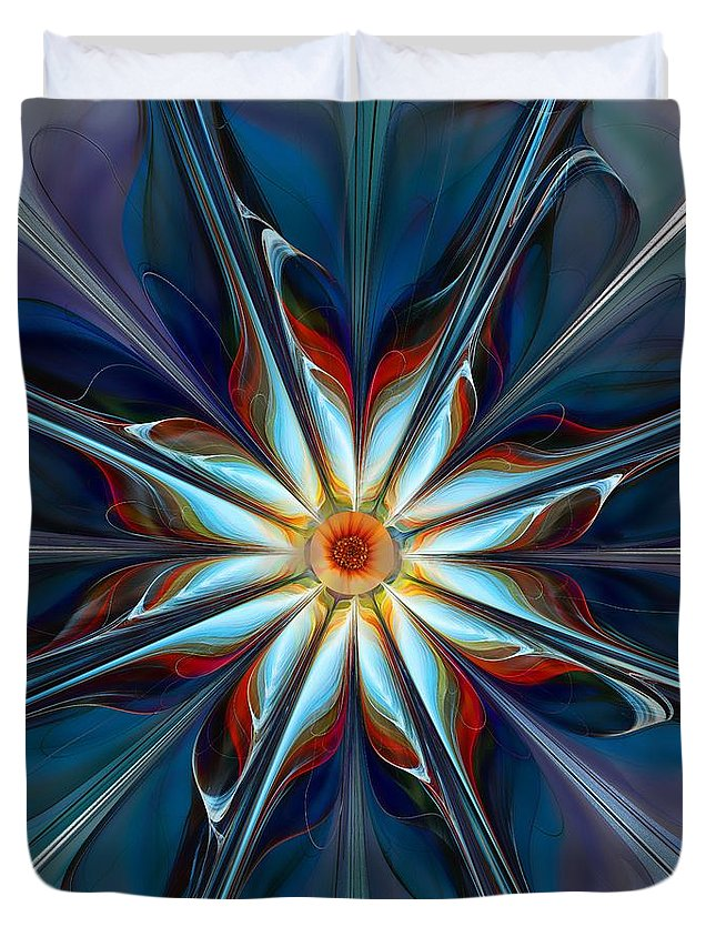Abstract Duvet Cover featuring the digital art Blue Flower by Klara Acel
