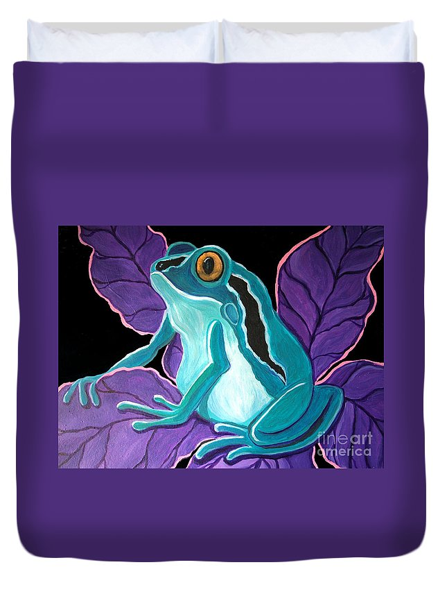 Frog Art Duvet Cover featuring the painting Blue Frog Purple Flower by Nick Gustafson