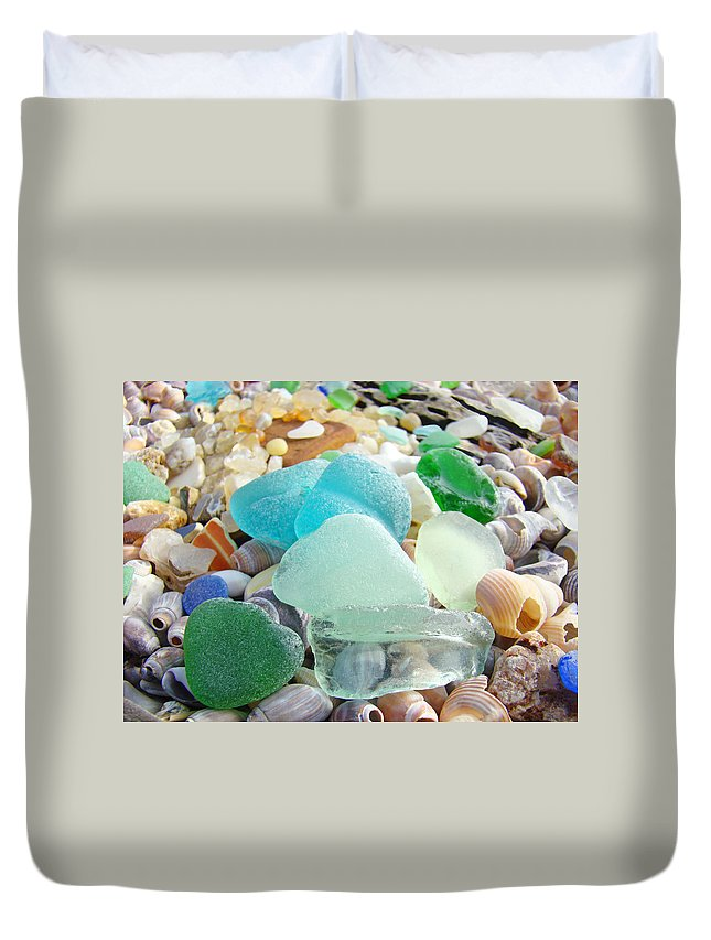 Seaglass Duvet Cover featuring the photograph Blue Green Sea Glass Beach Coastal Seaglass by Baslee Troutman