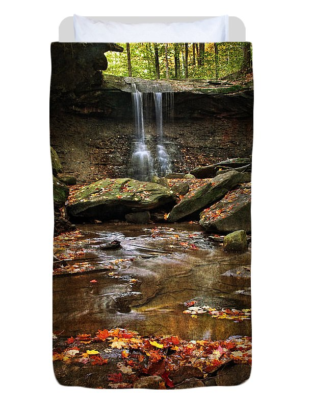 Water Duvet Cover featuring the photograph Blue Hen Falls In Autumn by Dale Kincaid