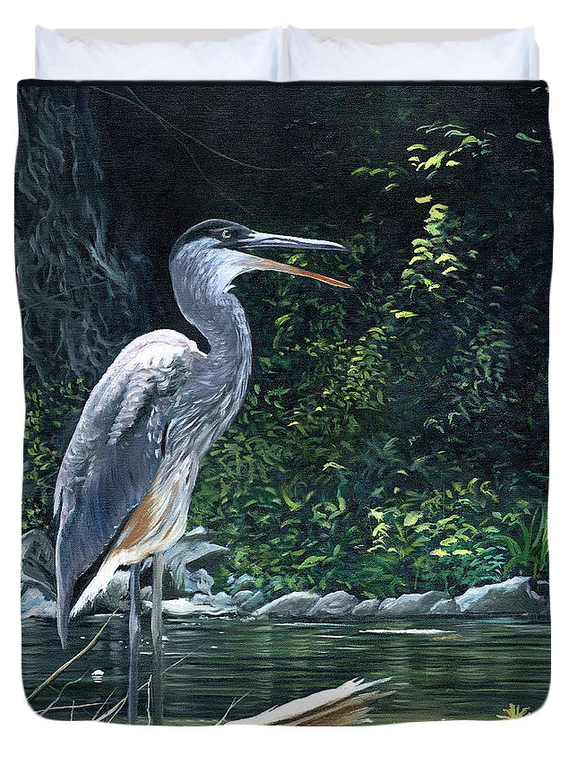 Great Blue Heron Duvet Cover featuring the painting Blue Heron by Christopher Lyter