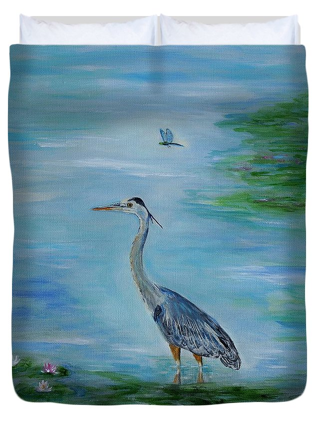 Heron Duvet Cover featuring the painting Blue Herons Friend by Leslie Allen
