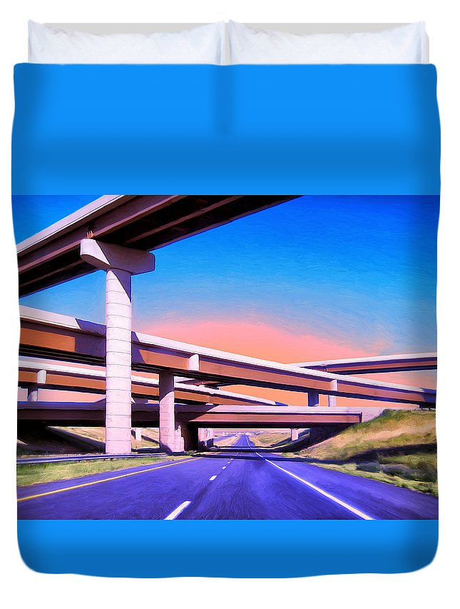 Blue Highway Duvet Cover featuring the painting Blue Highway 7 by Dominic Piperata