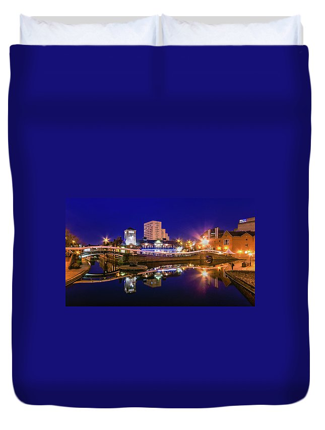 Birmingham Duvet Cover featuring the photograph Blue Hour In Birmingham by Fiona Mcallister Photography