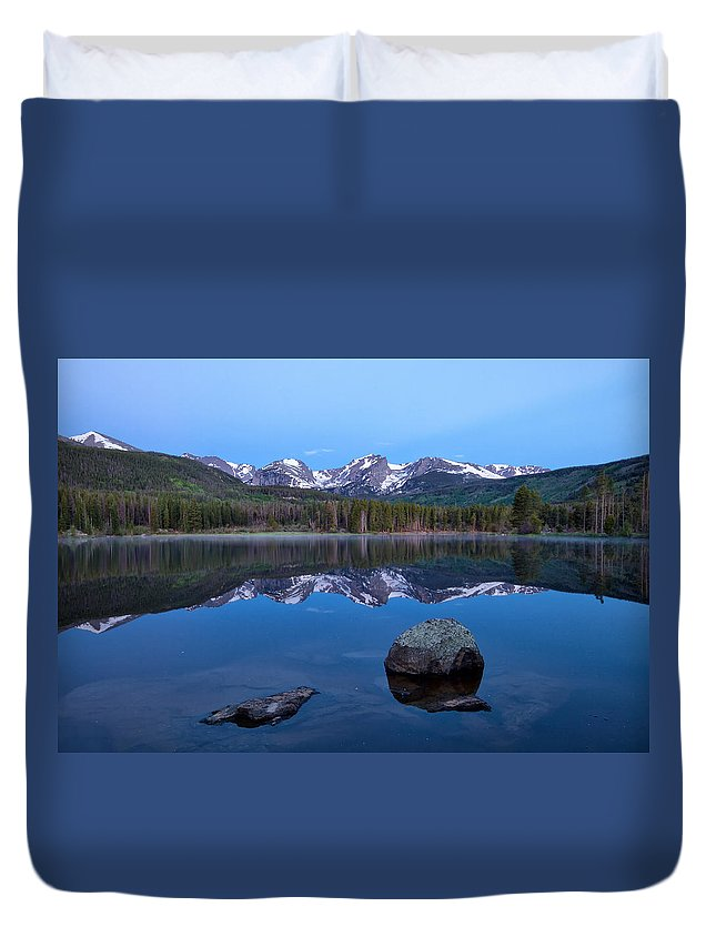 Rmnp Duvet Cover featuring the photograph Blue Hour On Sprague Lake by Ronda Kimbrow