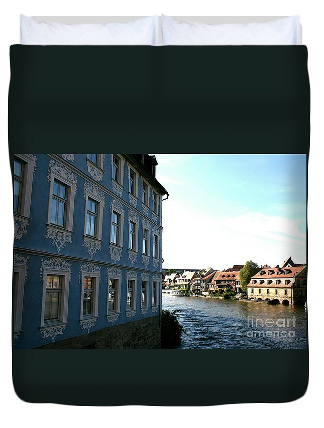 House Duvet Cover featuring the photograph Blue House - Bamberg by Christiane Schulze Art And Photography