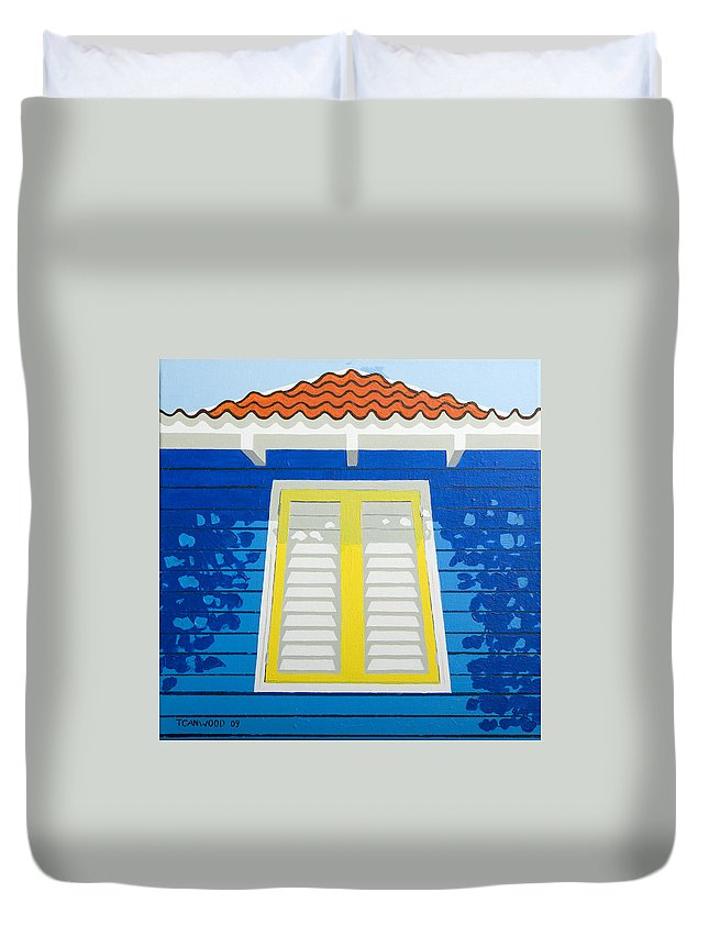 Caribbean House Architecture Sun Painting Blue Curacao Aruba Antilles Duvet Cover featuring the painting Blue House by Trudie Canwood