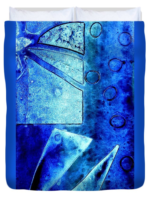 Abstract Duvet Cover featuring the mixed media Blue  II by John Nolan