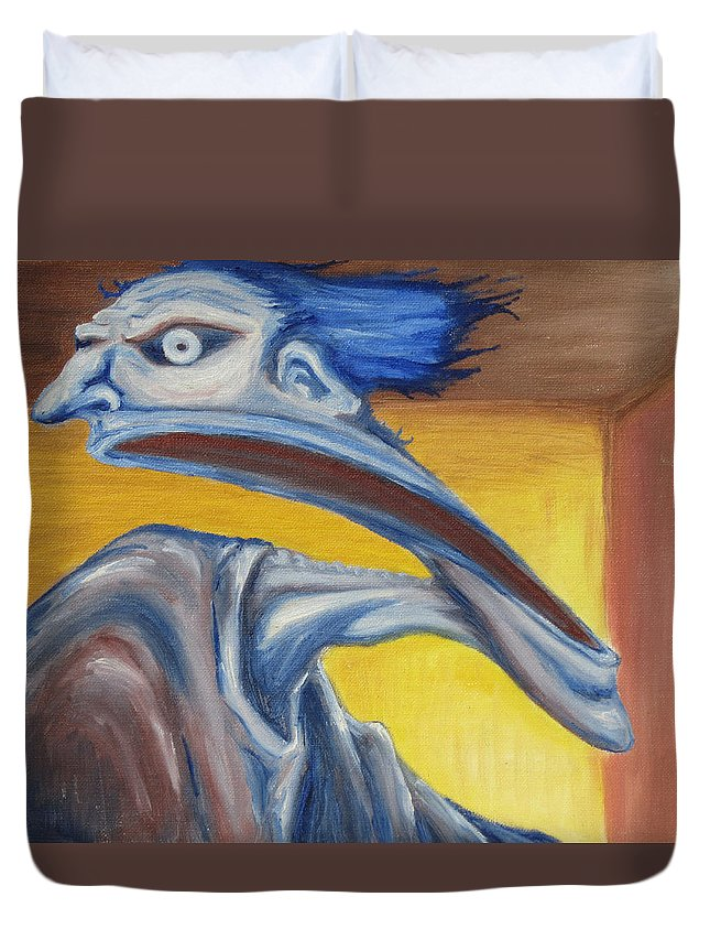 Surreal Duvet Cover featuring the painting Blue - Internal by Jeffrey Oleniacz